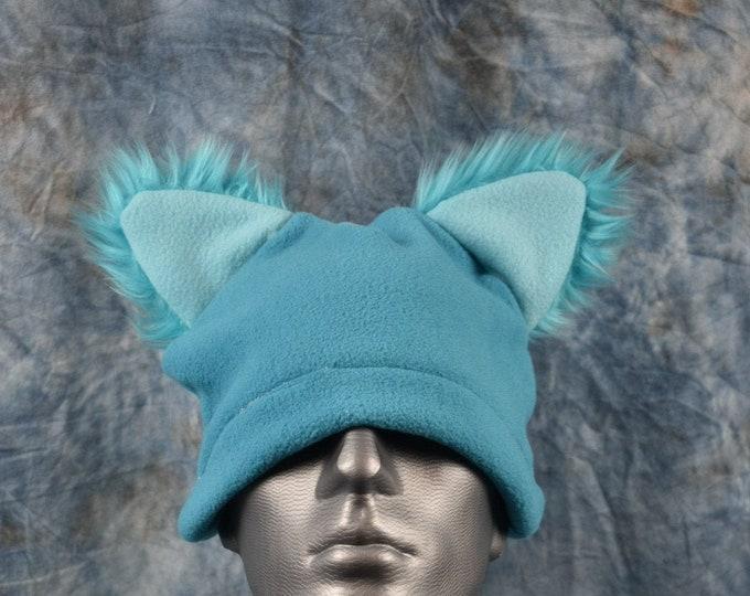 Bright Blue Wolf Ear Beanie