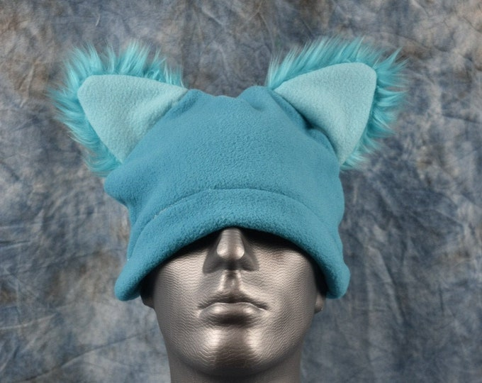Bright Blue Wolf Ear Beanie Hat