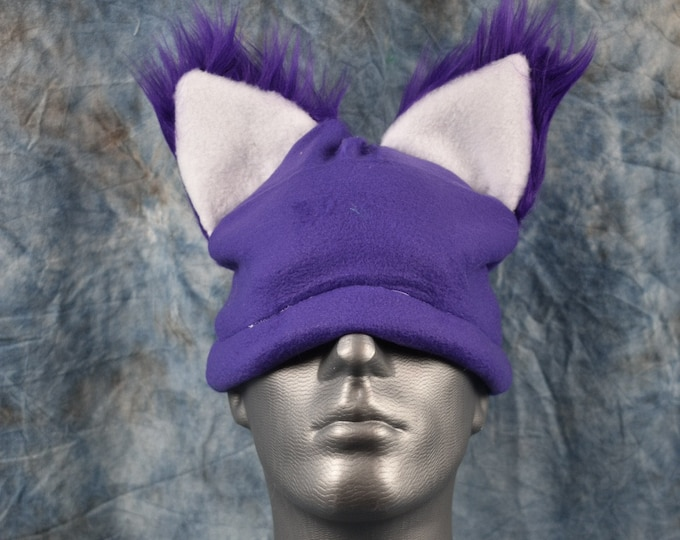 Purple Wolf Ear Beanie Hat