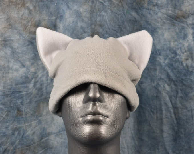 Silver and White Cat Ear Beanie