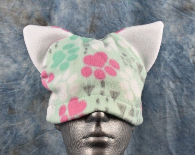 Paw Print Green Pink and White Ear Beanie Hat