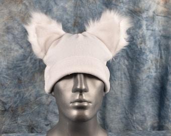 White Ear Beanie Hat
