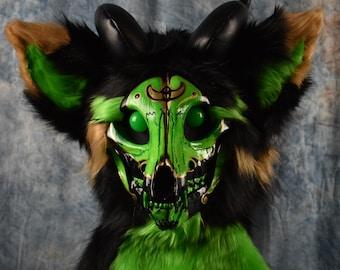 Pre-made Green, Gold and Black Skull Dog Fursuit