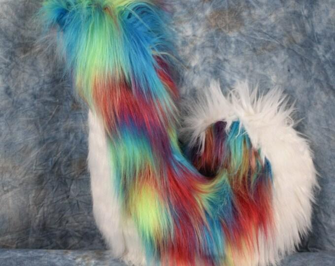 Rainbow and White Husky Fursuit Tail