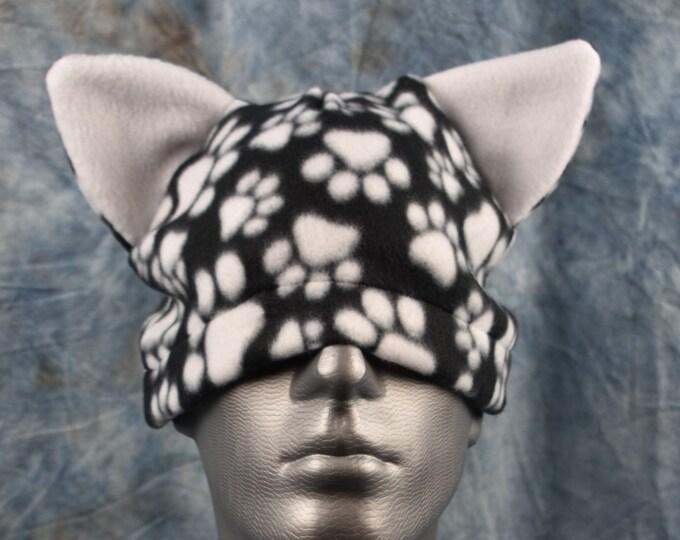 Paw Print Black and White Ear Beanie Hat
