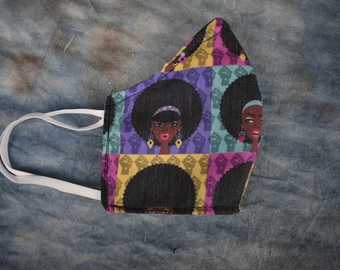 Retro Black Girl Squares Face Mask