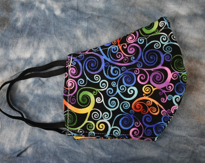 Dark Rainbow Swirls Face Mask