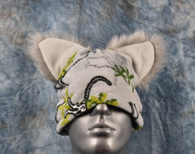 Gray Dino Print Ear Beanie Hat