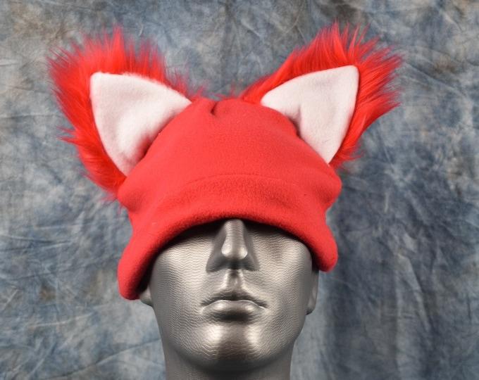 Red Wolf White Inside Ear Beanie Hat