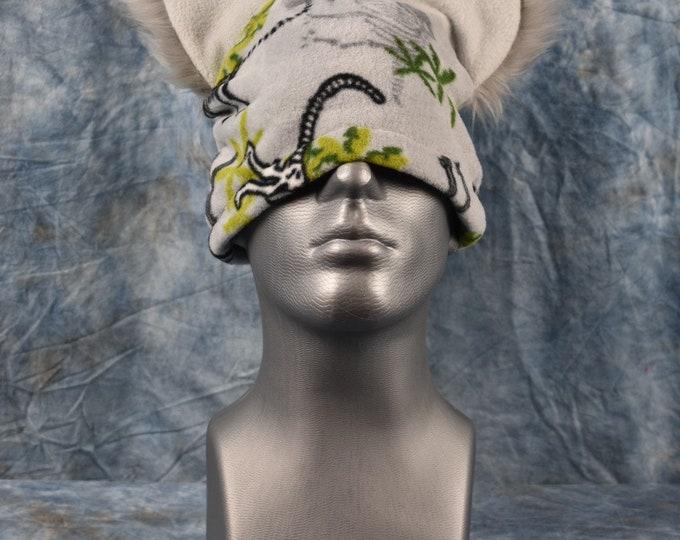 Gray Dino Print Ear Beanie