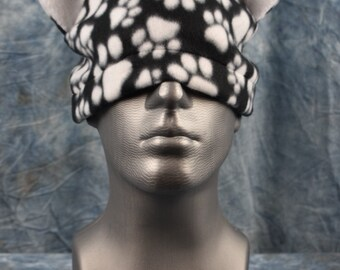 Paw Print Black and White Ear Beanie