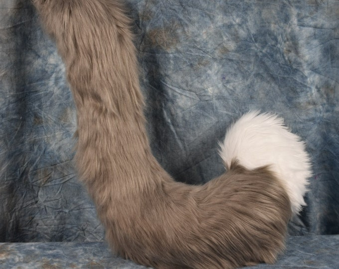 Medium Grey and White Cat fursuit Tail