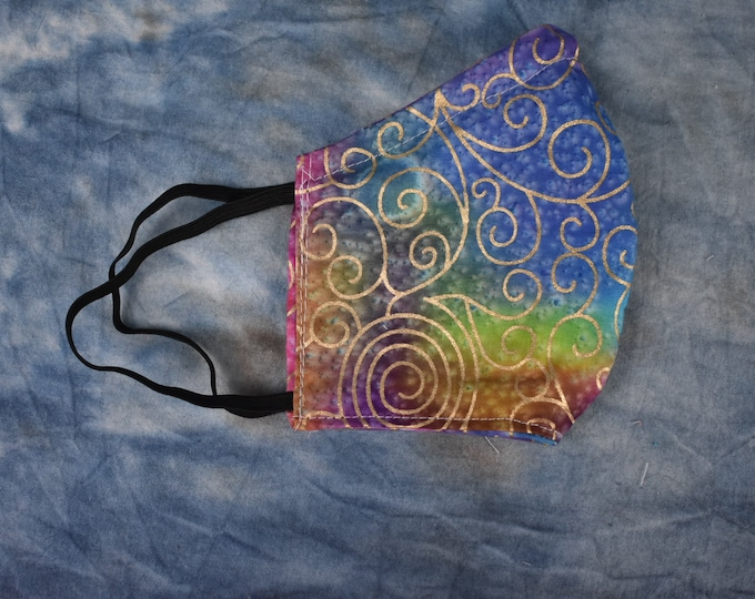Bright Rainbow Swirls Face Mask