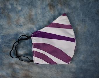 Purple & White Tiger Stripes Face Mask