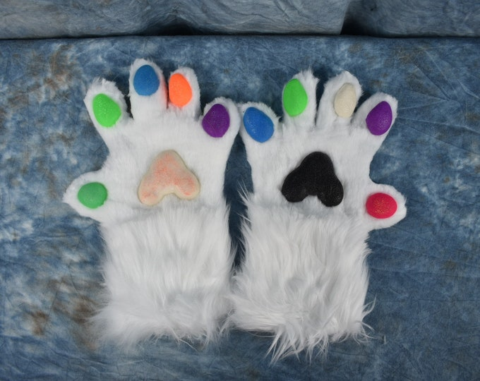Pre-Made: Rainbow/White 5 Finger Hand Paws