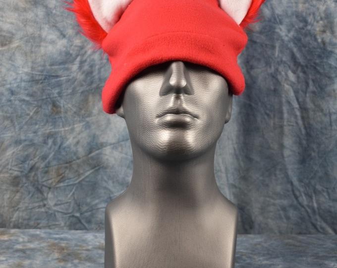 Red Wolf White Inside Ear Beanie