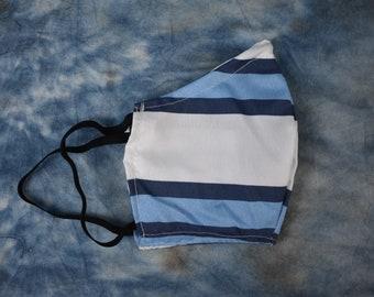 Blue & White Stripes Face Mask