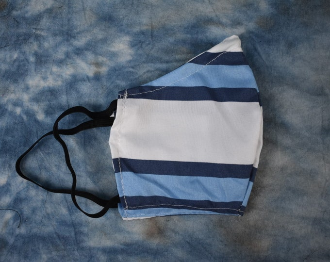Blue & White Stripes Face Mask