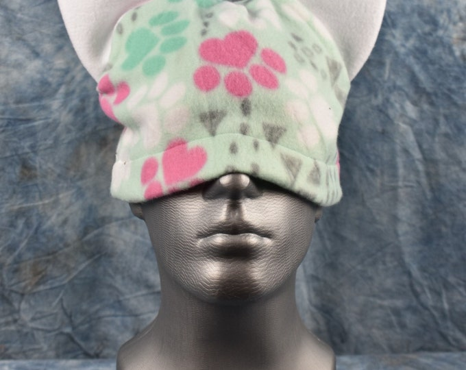 Paw Print Green Pink and White Ear Beanie