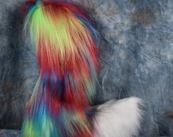 READY TO SHIP!!! Blue Red Green Rainbow Fox Fursuit Tail