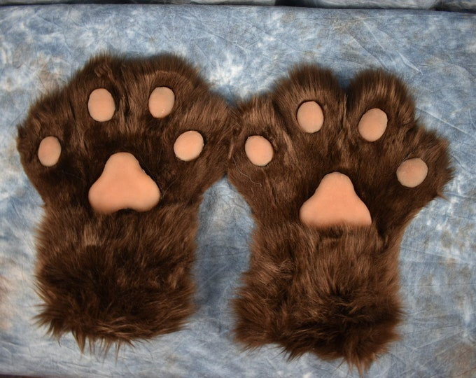 Pre-made: Brown and Caramel 4 Fingered Hand paws