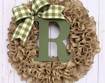 Wreath for front door year round, for fall, burlap wreath with initial, personalized, farmhouse, housewarming wedding gift, outdoor decor