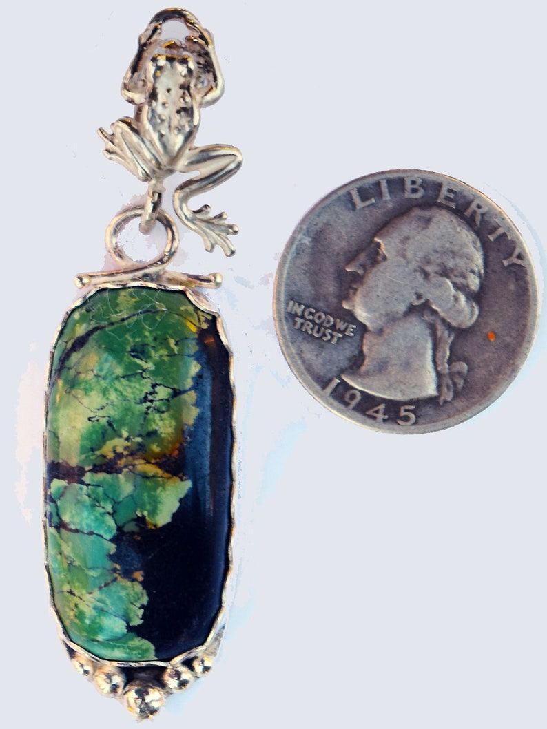 Cool green turquoise pendant with Sterling Silver frog. Froggy/'s dream