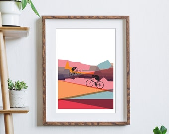 Cycling Art / Bicycle Print / Cycling Print / Up, Up & Away / Gift for Cyclists