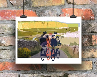 Cycling Art / A Day Out In The Dales /  Giclee Cycling Print