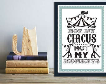 SET OF 2 Circus Poster Prints: Black & White with Sage Border