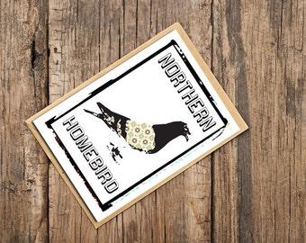 Northern Homebird Pigeon Card. Northern Cards. Cards for Northerners. Pigeon Card. Blank Card.