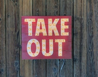 Ships now! TAKE OUT SIGN Lighted Letters Marquee Sign restaurant plank shiplap