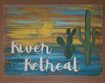 RIVER RETREAT Rustic Sign, Living Room, Porch, Reclaimed wood Home Decor