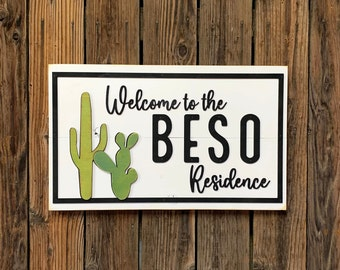 Welcome to our Residence LAST NAME Sign Custom Living Room Bedroom Wood Cactus Desert Home Decor