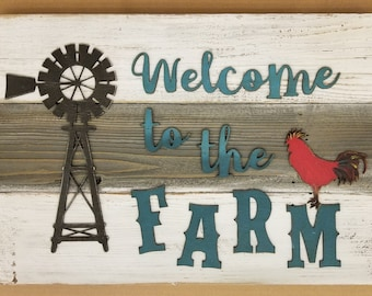 WELCOME to the FARM Rustic Sign, Living Room, Porch, Reclaimed wood Home Decor