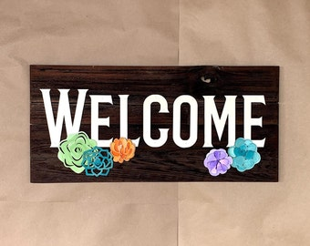 Welcome with Succulents wood sign Front Porch decor desert cactus theme