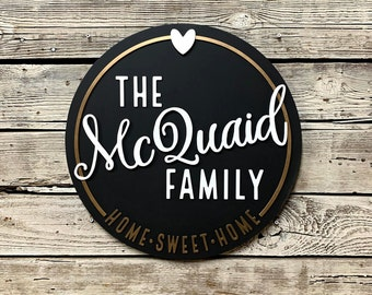 "FAMILY HOME Sweet HOME Custom 20"" Round Sign Living Room Bedroom Wood Decor Wedding Anniversary Gift"