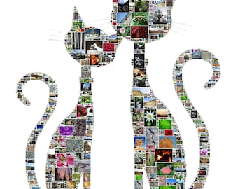 Cat Mosaic Poster – OOAK custom collage from your personal photos