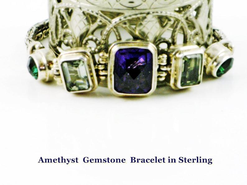 Adjustable length, Sterling Silver Cuff Bracelet Woman Her Handmade Bracelet Purple Amethyst Sterling Bracelet Amethyst Bracelet