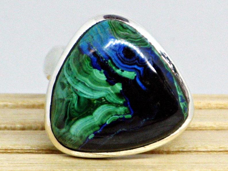 Blue Green Gemstone Natural Gemstone Blue Azurite Ring Sterling Azurite Malachite Malachite Ring Azurite Ring Green Malachite Ring