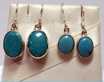 Turquoise Earrings, Blue Turquoise, Blue Earrings, Natural Turquoise Sterling Silver 925 Real Turquoise Blue Oval Earrings Premium Turquoise