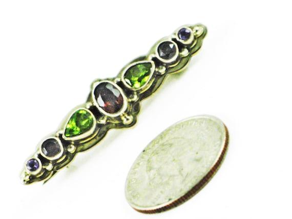 Silver Gemstone Pin, Sterling Silver Pin, Garnet G