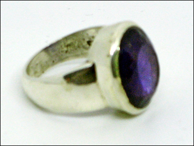 Large Amethyst Ring Natural Amethyst Large Purple Ring Extra Large Amethyst Amethyst Oval Ring Sterling Silver Ring Statement Size 8