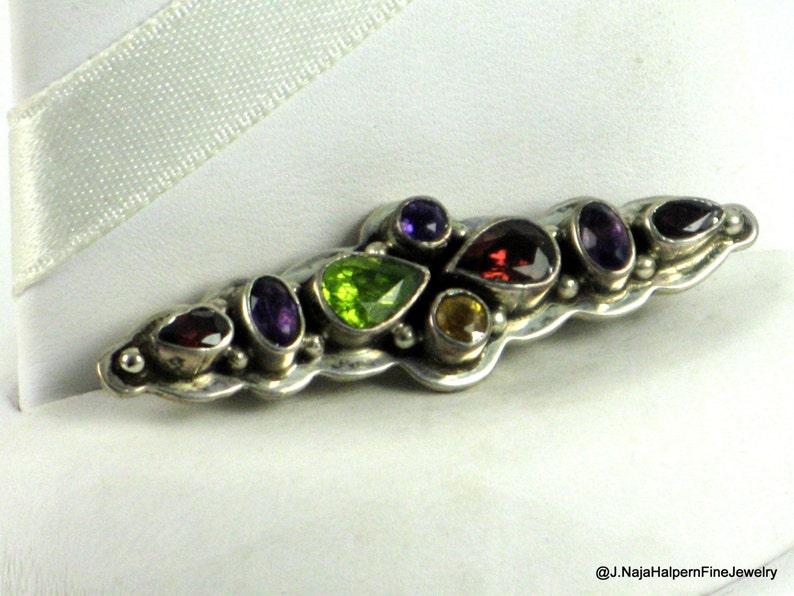 Natural Gemstone Pin Multi Gemstone Pin Garnet Amethyst Pin Sterling Silver Pin Peridot Amethyst Handmade Silver Pin Amethyst Bar Pin