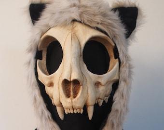 Cat Skull Mask - Top Half - Bone Painted