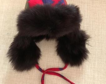 Ralph Lauren Trapper Fur Hat Shearling Trapper Hat Indian Blanket Navajo  Wool Vintage Western Rockabillly Fur Trappers Hat bbc2262d1f5