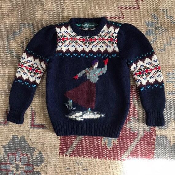 Ralph Lauren Sweater Hand knit Ski Sweater Skating