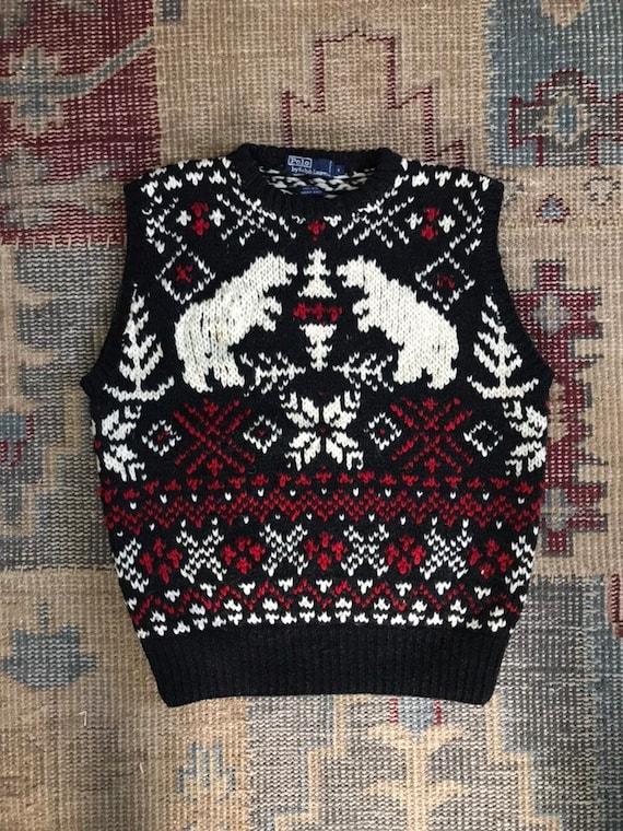Ralph Lauren Vest Hand knit Bear Ski Indian Tribal Flag Bear  4dd7ac8cf7f5