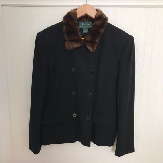 Ralph Lauren Jacket Wool Coat Fur Trim Black Vinta