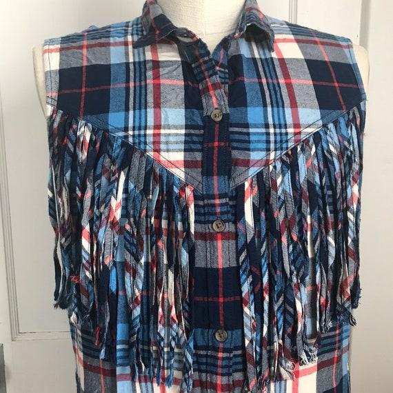 Ralph Lauren Plaid Shirt Western Fringed Shirt Co… - image 5